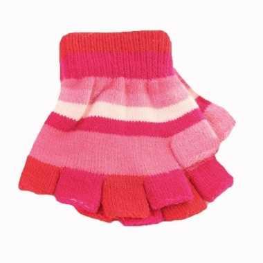 Kinder handschoenen met roze streepjes zonder vingers