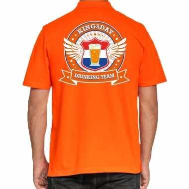 Kingsday drinking team polo t-shirt oranje met kroon voor heren