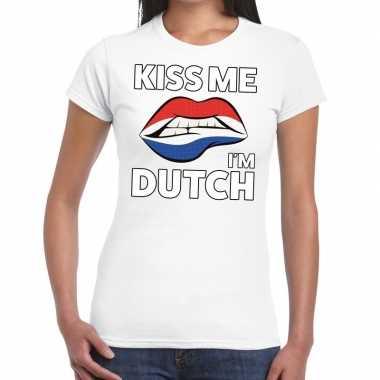 Kiss me i am dutch wit fun-t shirt voor dames