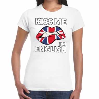Kiss me i am english wit fun-t shirt voor dames