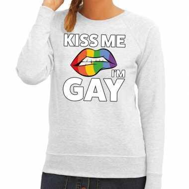 Kiss me i am gay grijze fun trui voor dames