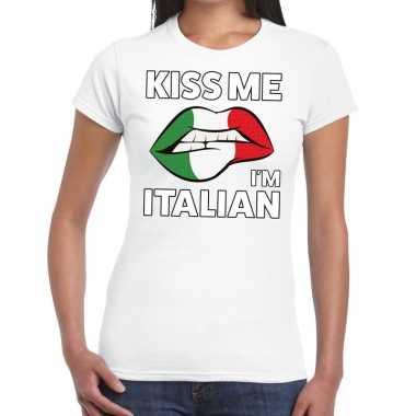 Kiss me i am italian wit fun-t shirt voor dames