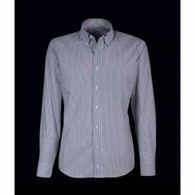 Kleding heren overhemd grijs/wit