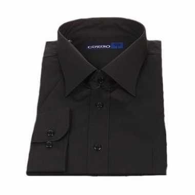 Kleding zwart heren overhemd korte mouw