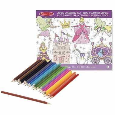 Kleurboek set met kleurpotloden met prinsessen