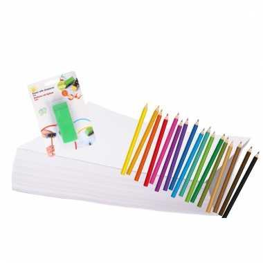 Kleurpakket met potloden en puntenslijper
