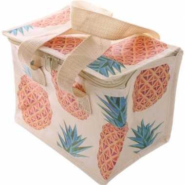 Koelbox/koeltas ananassen print voor 6 blikjes