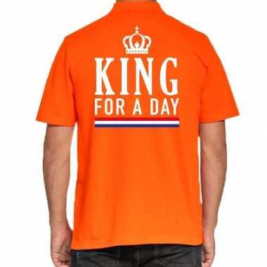 Koningsdag polo t-shirt oranje king for a day voor heren