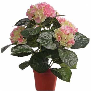 Kunst hortensia roze/groen 36 cm