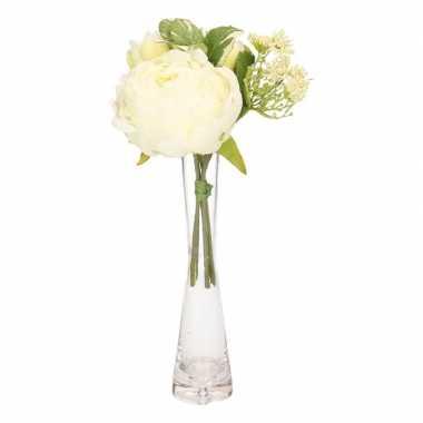 Kunst wit boeket 20 cm pioenroos/tulp/dille inclusief vaasje