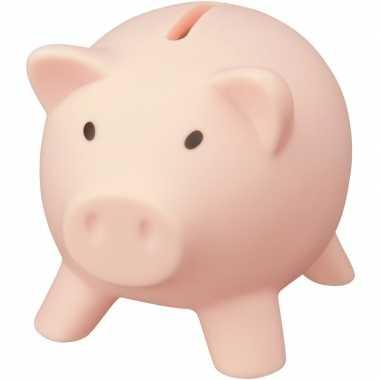 Kunststof varken mini spaarpot lichtroze 9 cm