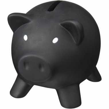 Kunststof varken mini spaarpot zwart 9 cm