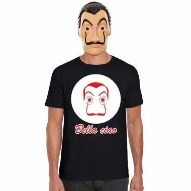 La casa de papel masker inclusief zwart dali t-shirt voor heren