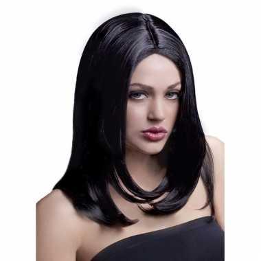 Laagjes pruik zwart luxe voor dames