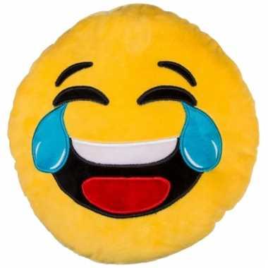 Lachende emoticon kussentje 30 cm
