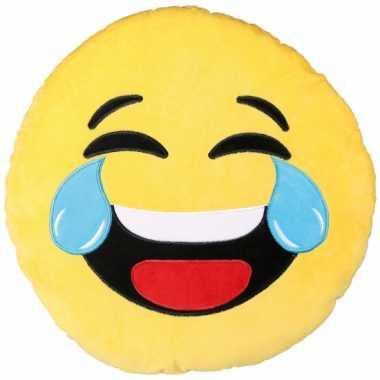 Lachende emoticon kussentje 50 cm