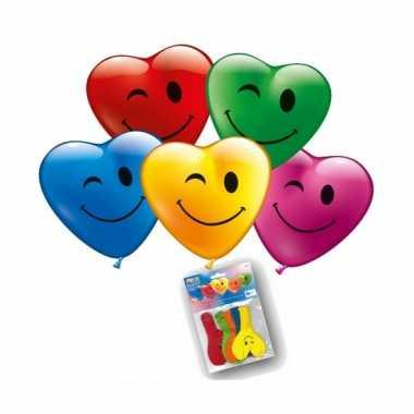 Lachende hartjes ballonnen 5 stuks