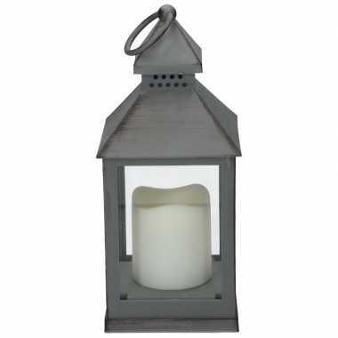 Lamp led kaars grijs. formaat: 10,5 x 10,5 x 24 cm. werkt op 3 x aaa