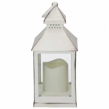 Lamp led kaars, wit, formaat: 10,5 x 10,5 x 24 cm. excl. 3xaaa batter