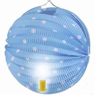 Lampion blauw met witte stippen 20 cm