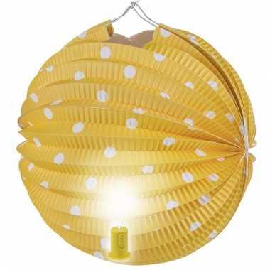 Lampion geel met witte stippen 20 cm