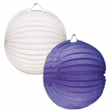 Lampionnen pakket wit en blauw