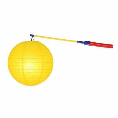 Lampionset geel 25 cm met lampionstokje
