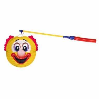 Lampionset gele clown 22 cm met lampionstokje
