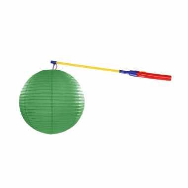Lampionset groen 25 cm met lampionstokje