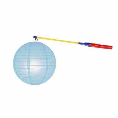 Lampionset lichtblauw 25 cm met lampionstokje