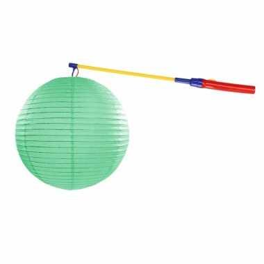 Lampionset mint groen 35 cm met lampionstokje
