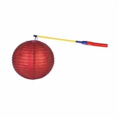 Lampionset rood 25 cm met lampionstokje