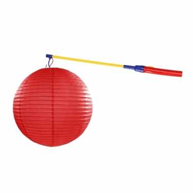Lampionset rood 35 cm met lampionstokje
