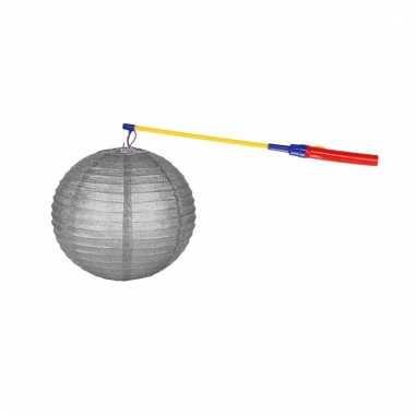Lampionset zilver 25 cm met lampionstokje
