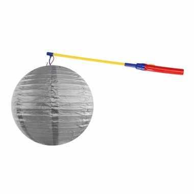 Lampionset zilver 35 cm met lampionstokje