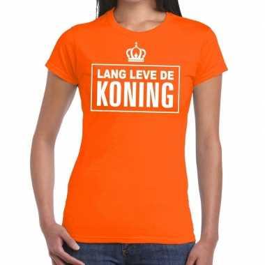 Lang leve de koning tekst shirt oranje dames