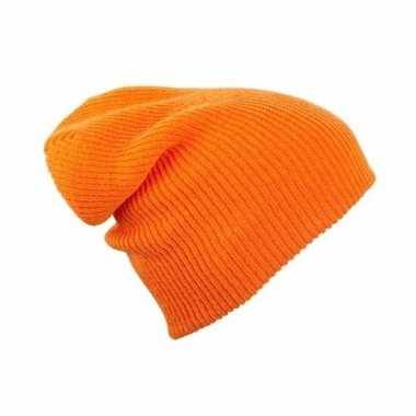 Lange beanie muts oranje voor dames