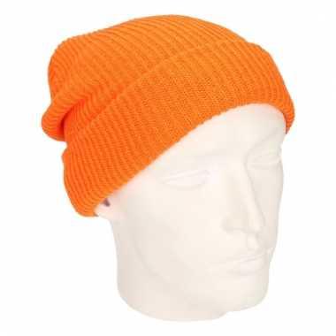 Lange beanie muts oranje voor heren