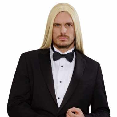 Lange blonde heren pruik