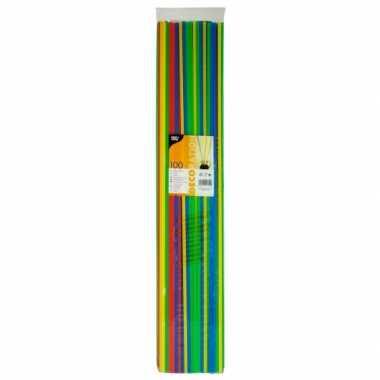 Lange gekleurde rietjes 100 st 75 cm