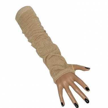 Lange gouden gala handschoenen