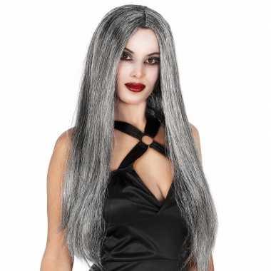 Lange grijze halloween heksenpruik voor dames