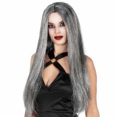 Lange grijze heksenpruik voor dames