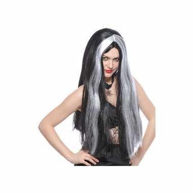 Lange heksenpruik grijs/zwart