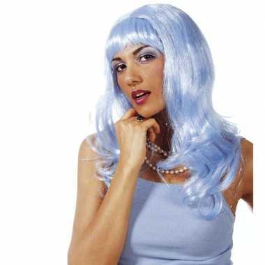 Lange lichtblauwe pruik met pony voor dames