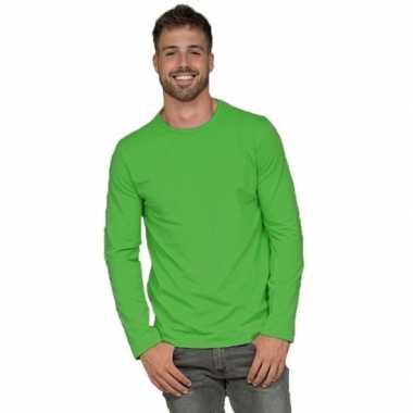 Lange mouwen stretch t-shirt limegroen voor heren