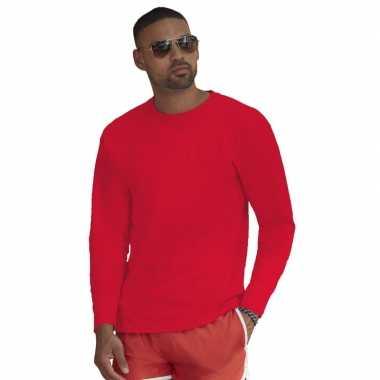 Lange mouwen stretch t-shirt rood voor heren