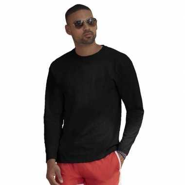 Lange mouwen stretch t-shirt zwart voor heren