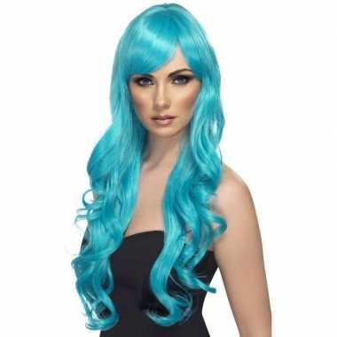 Lange pruik turquoise blauw voor dames