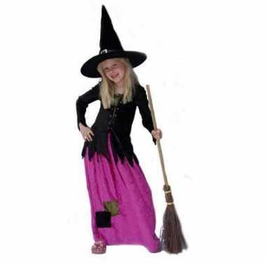 Lange roze heksenjurk voor meisjes